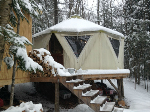 Closeup of heavy snow load on a tiny tent home by Red Sky Sheltersm, a yurt alternative