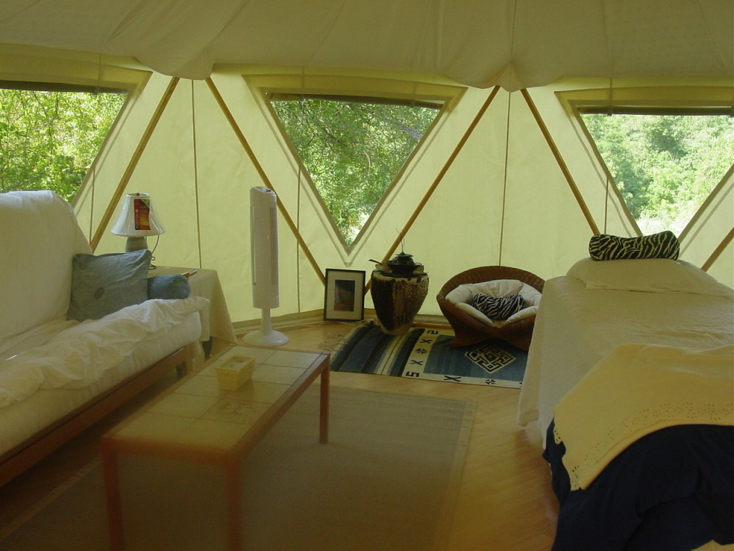 Super clean crisp interior decorating in light open Yome tent home with huge windows