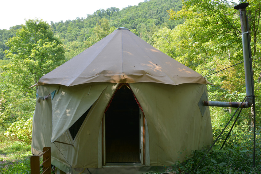 Blue Ridge Mountains ridge line with Yome style yurt home tent