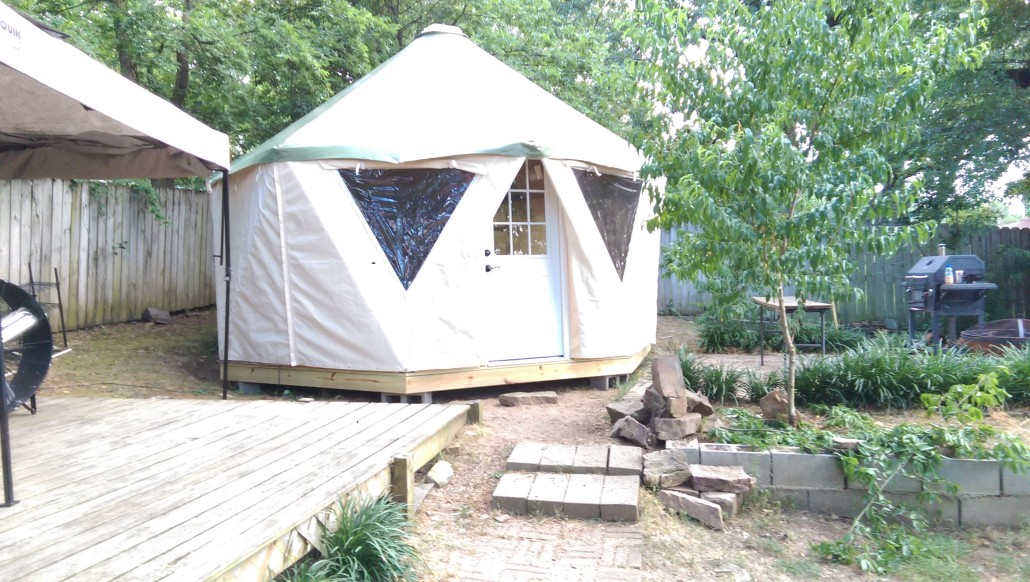 A backyard Yome tent house makes a great she-shed or man-cave