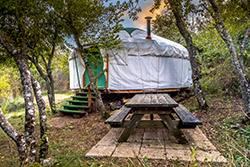 Mongolian yurt at a modern campground