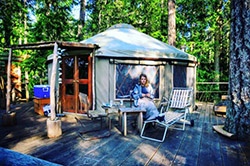 A scene from yurt living on a deck homesite