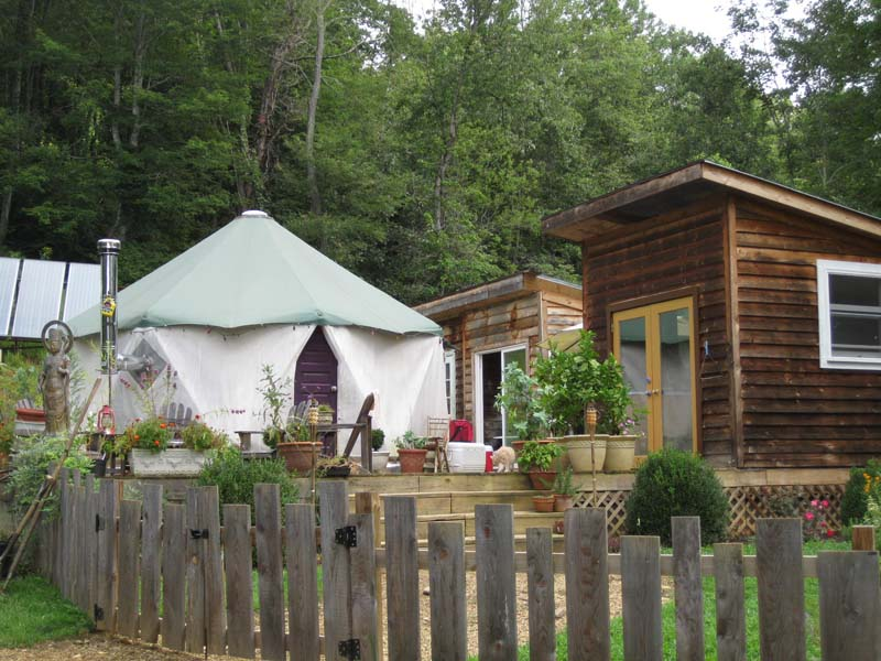 Several tiny homes including a yurt alternative Yome home