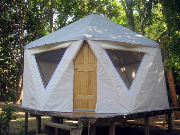 Large comfortable yurt style home on a sturdy platform in the woods