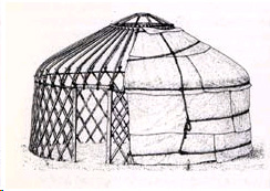 Hand drawn illustration of structure of traditional Mongolian Yurt