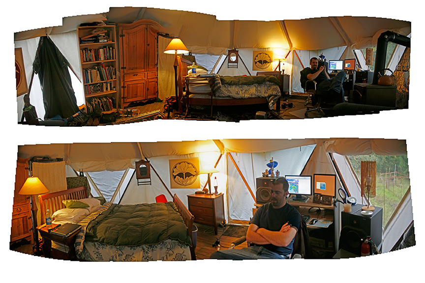 Panoramic collage of the interior of a Yome yurt home warmly lit and nicely furnished for comfortable living